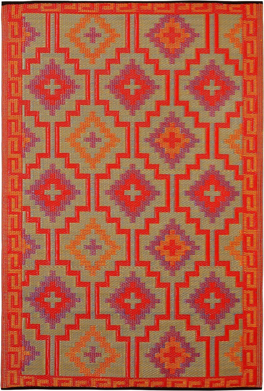 3-Feetx5-Feet Fab Habitat Lhasa-Orange and Violet Rug
