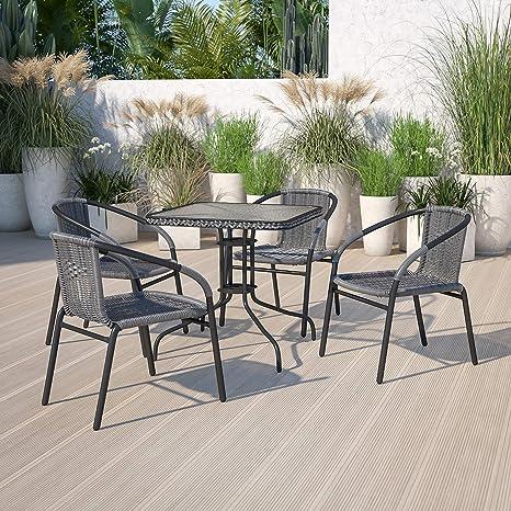 Amazon Com Flash Furniture 4 Pack Gray Rattan Indoor Outdoor Restaurant Stack Chair Furniture Decor