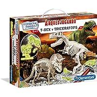 Clementoni- Arqueojugando T-Rex y Triceratops Juego de Ciencia Educativo, Multicolor, 35.1 x 26.2 x 7.4 (550548)