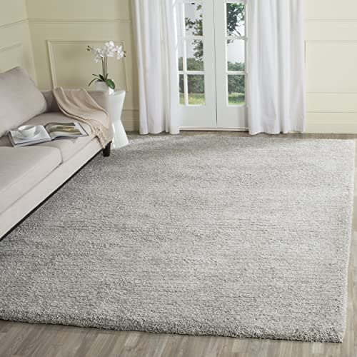 Safavieh Ultimate Shag Collection SGU211D Handmade Silver Polyester Area Rug 8 x 10