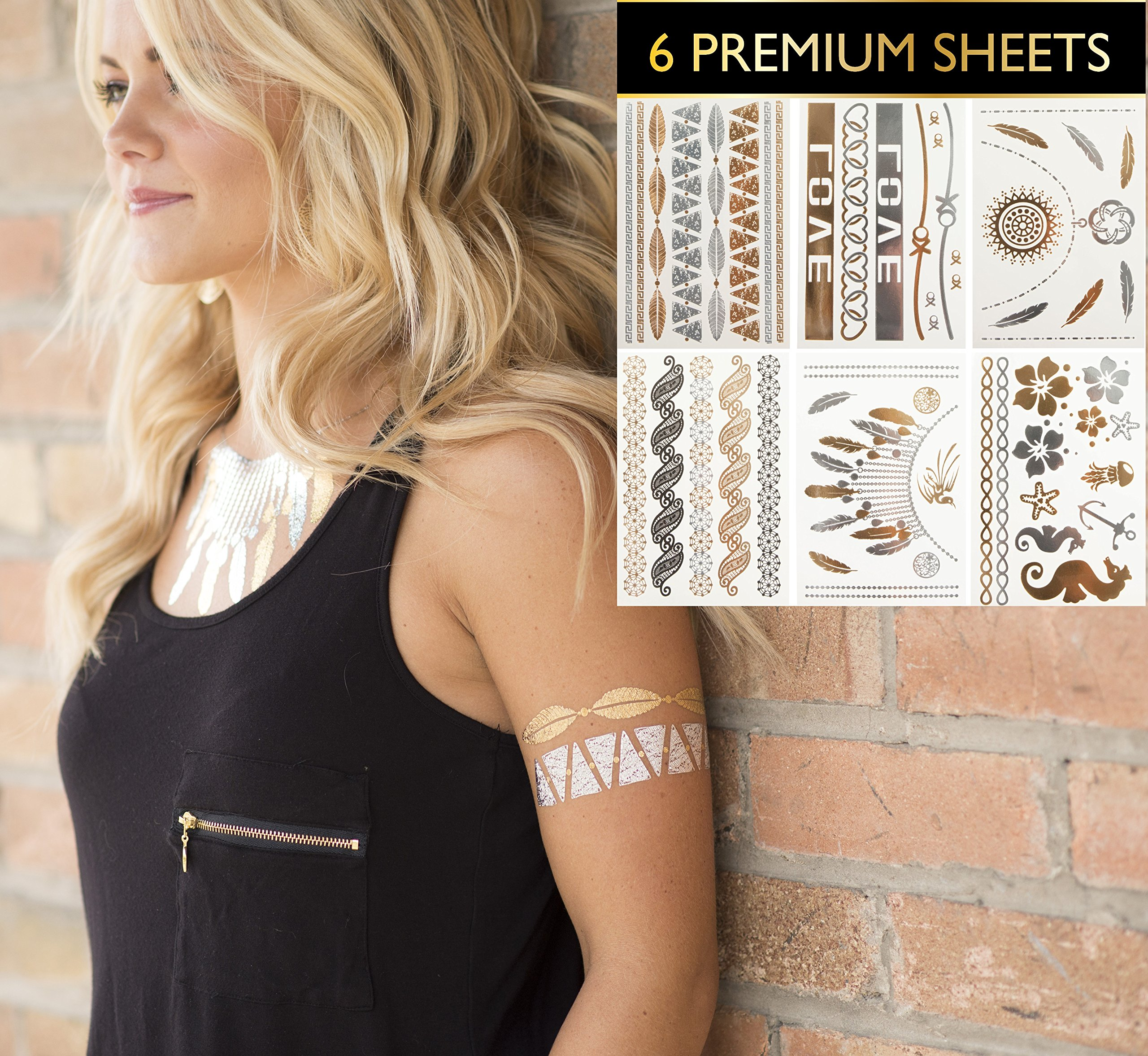 6 Premium Sheets - Metallic Gold and Silver Temporary Flash Tattoos and Trendy
