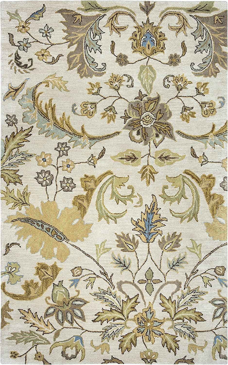 Rizzy Home Volare Collection Wool Area Rug, 5' x 8', Ivory/Sage/Khaki/Blue/Taupe Floral