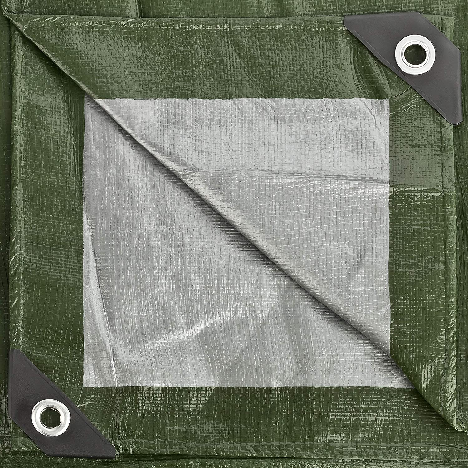 GardenMate 2m x 3m Tarpaulin Waterproof Heavy Duty - Home & Garde Green/Silver Tarp Sheet - Premium Quality Cover Made of 140gramm/Square metre Tarpaulin