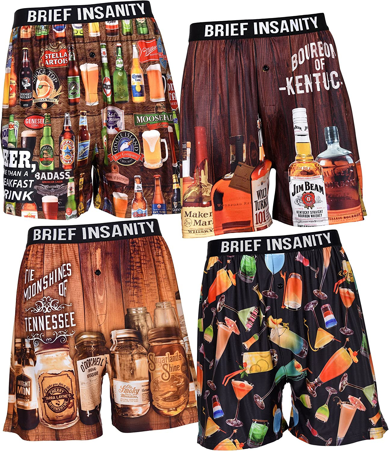 Brief Insanity Mens Boxer Shorts Underwear Bourbons Beers Moonshines /& Cocktails X-Large, BIBXR - Moonshines Of Tennessee