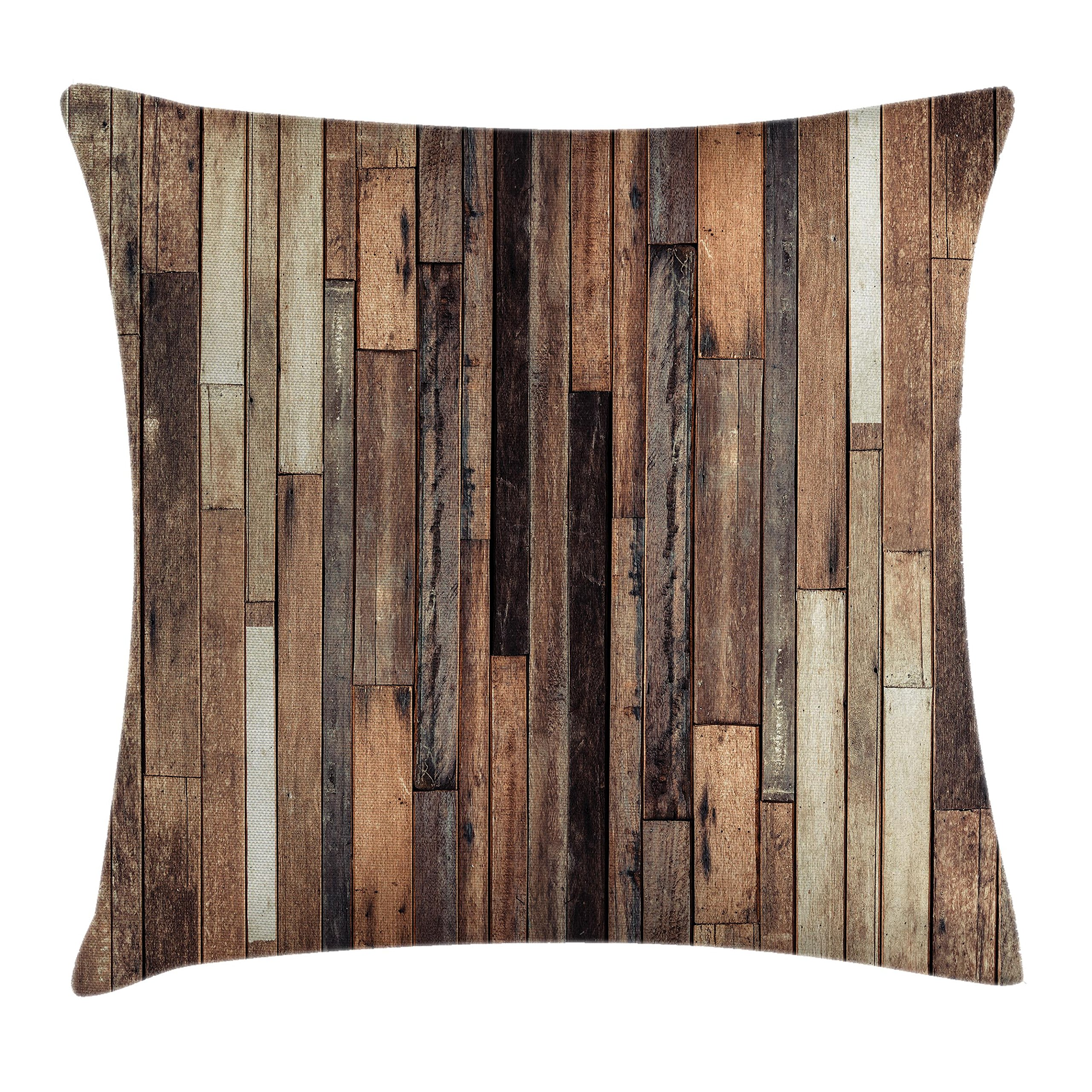 Ambesonne Wooden Throw Pillow Cushion Cover, Brown Old Hardwood Floor Plank Grunge Lodge Garage Loft Natural Rural Graphic Artsy Print, Decorative Square Accent Pillow Case, 16 X 16 Inches, Brown