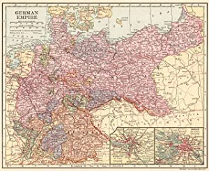 1908 Antique Germany Map German Empire Map Not a Reprint Home Office Decor Gallery Wall Art #1443