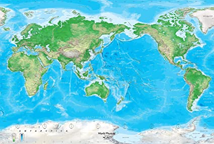 Pacific Centered World Map Amazon.: Academia Maps   Blue Ocean Physical World Wall Map