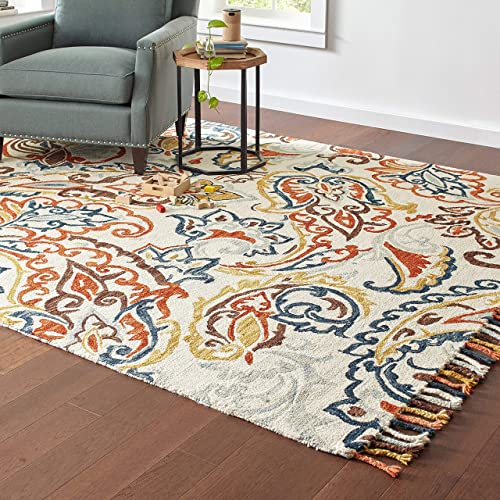 Stone Beam Swirling Paisley Farmhouse Motif Wool Area Rug, 8 x 10 Foot, Multi