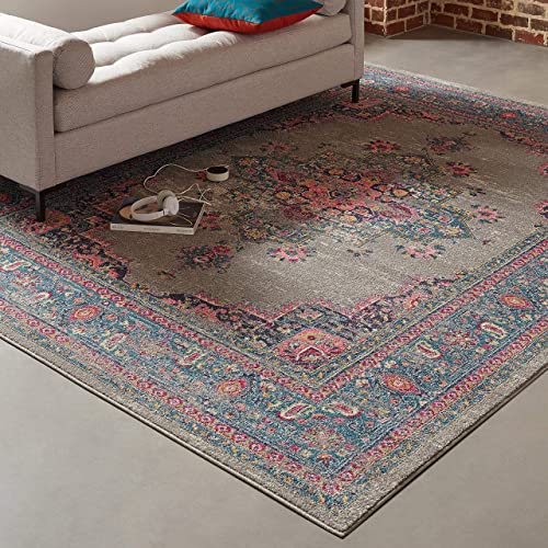 Rivet Old World Vintage Persian Area Rug, 8 x 10 Foot, Grey and Pink