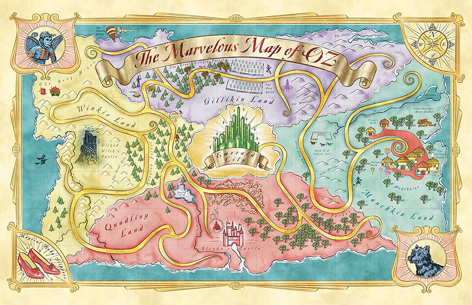 Amazon.com: Land of Oz Map from The Wizard of Oz Home Decor Fantasy ...