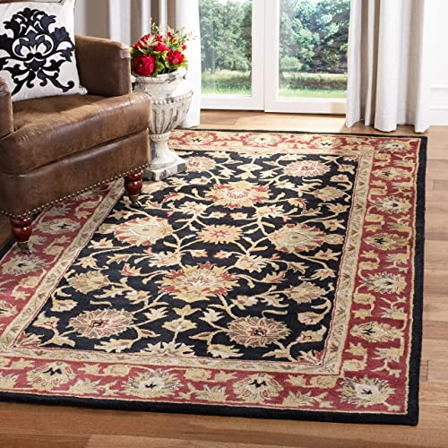 Safavieh Heritage Collection HG112A Handcrafted Traditional Oriental Black and Red Wool Area Rug 9 6 x 13 6