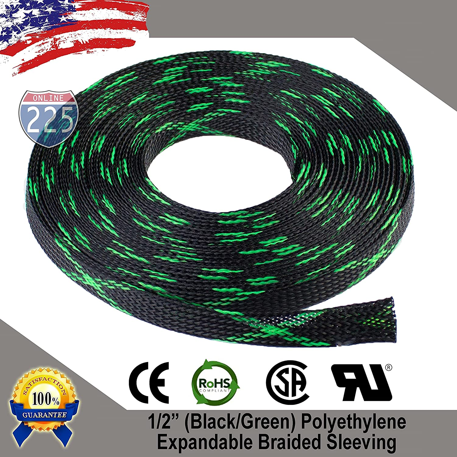 50 Ft 2 50mm Black Expandable Wire Cable Braided Harness Sleeving Sheathing Loom Tubing Us Home Audio Theater