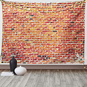 Lunarable Brick Wall Tapestry Queen Size, Vibrant Bricks and Grunge Style Vintage Rampart Pattern Print Architecture, Wall Hanging Bedspread Bed Cover Wall Decor, 88