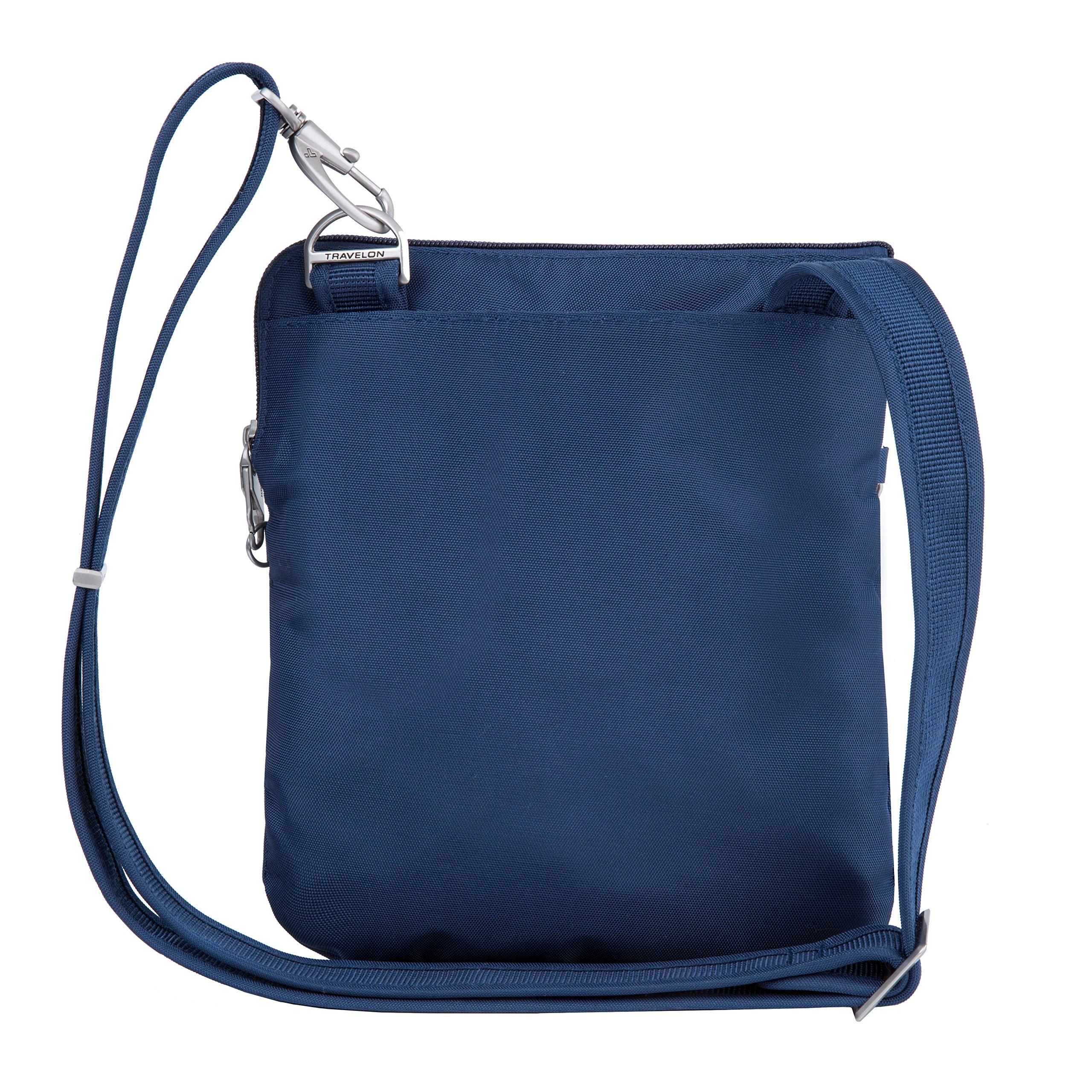 Travelon Anti-Theft Classic Slim Dbl Zip Crossbody Bag, Midnight by Travelon (Image #9)