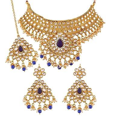 5649383545 I Jewels Gold Plated Traditional Kundan Choker Necklace Set with Earrings &  Maang Tikka for Women (K7074Bl): Amazon.co.uk: Jewellery