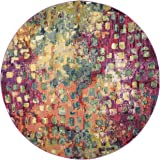 Safavieh Monaco Collection MNC225D Modern Abstract Watercolor Pink and Multi Distressed Round Area Rug (3' Diameter)