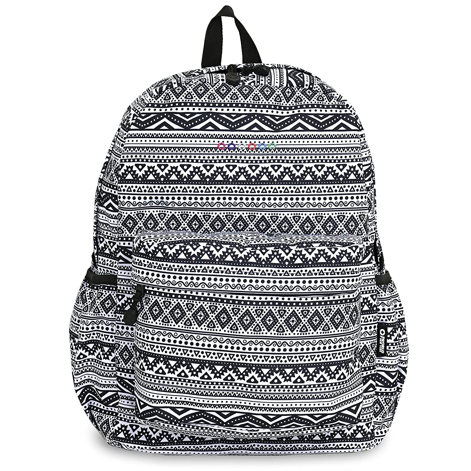 best Girls Tribal Stripes Pattern Backpack 17-Inch, Beautiful Persian Geometric Print Knapsack, Teens College Bag, Featuring Laptop Compartment, Water Resistant, Adjustable Shoulder Straps, Black White
