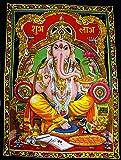 "Lord Ganesha Deity Art Sequin Work Indian God Batik Wall Hanging 43"" x 30"""