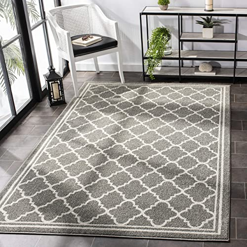 Safavieh Amherst Collection AMT422R Moroccan Trellis Area Rug, 6 x 9 , Dark Grey Beige