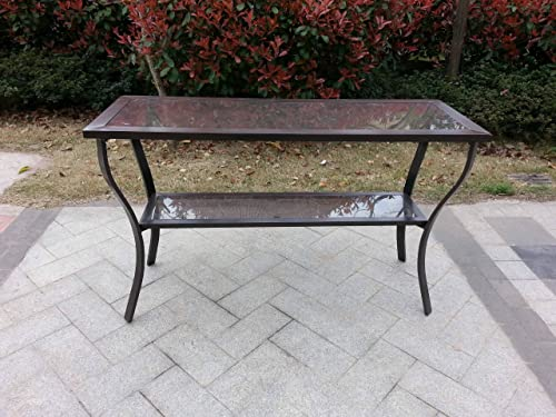 Pebble Lane Living Outdoor Aluminum Riviera Console Patio Table – Bronze