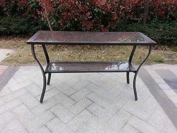 Outdoor Aluminum Riviera Console Patio Table   Bronze