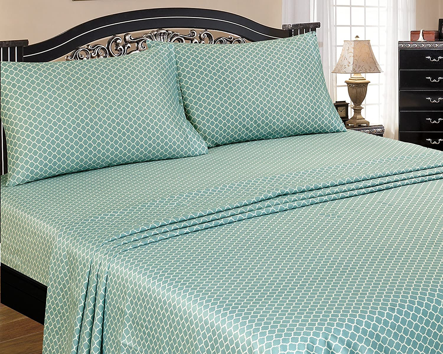 American Homes 400 Thread Count Imperial Sheet Set Queen Teal