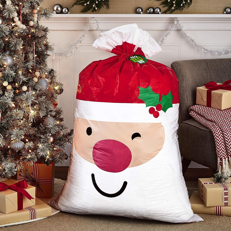 STRETCHY FATHER CHRISTMAS 12CM STRETCH SANTA PARTY BAG POCKET MONEY GIFT XMAS