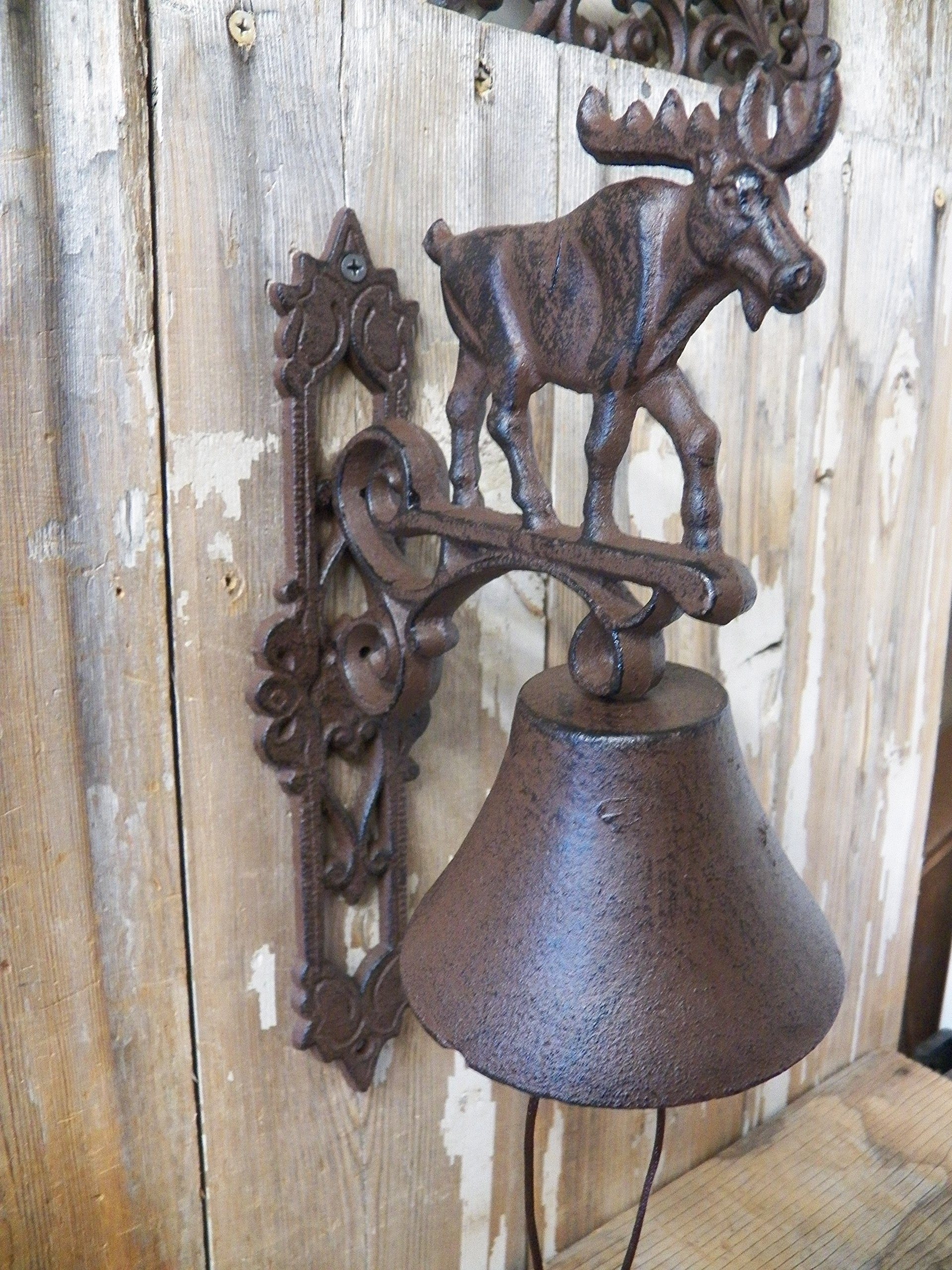 Moose Motif Dinner Bell Antique-Style Cast Iron Deck Windchime Wind Chime by BSA