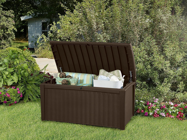 Plastic Outdoor Patio Storage Container Deck Box u0026 Garden Bench Brown  Garden u0026 Outdoor & Amazon.com : Keter Borneo 110 Gal. Plastic Outdoor Patio Storage ...