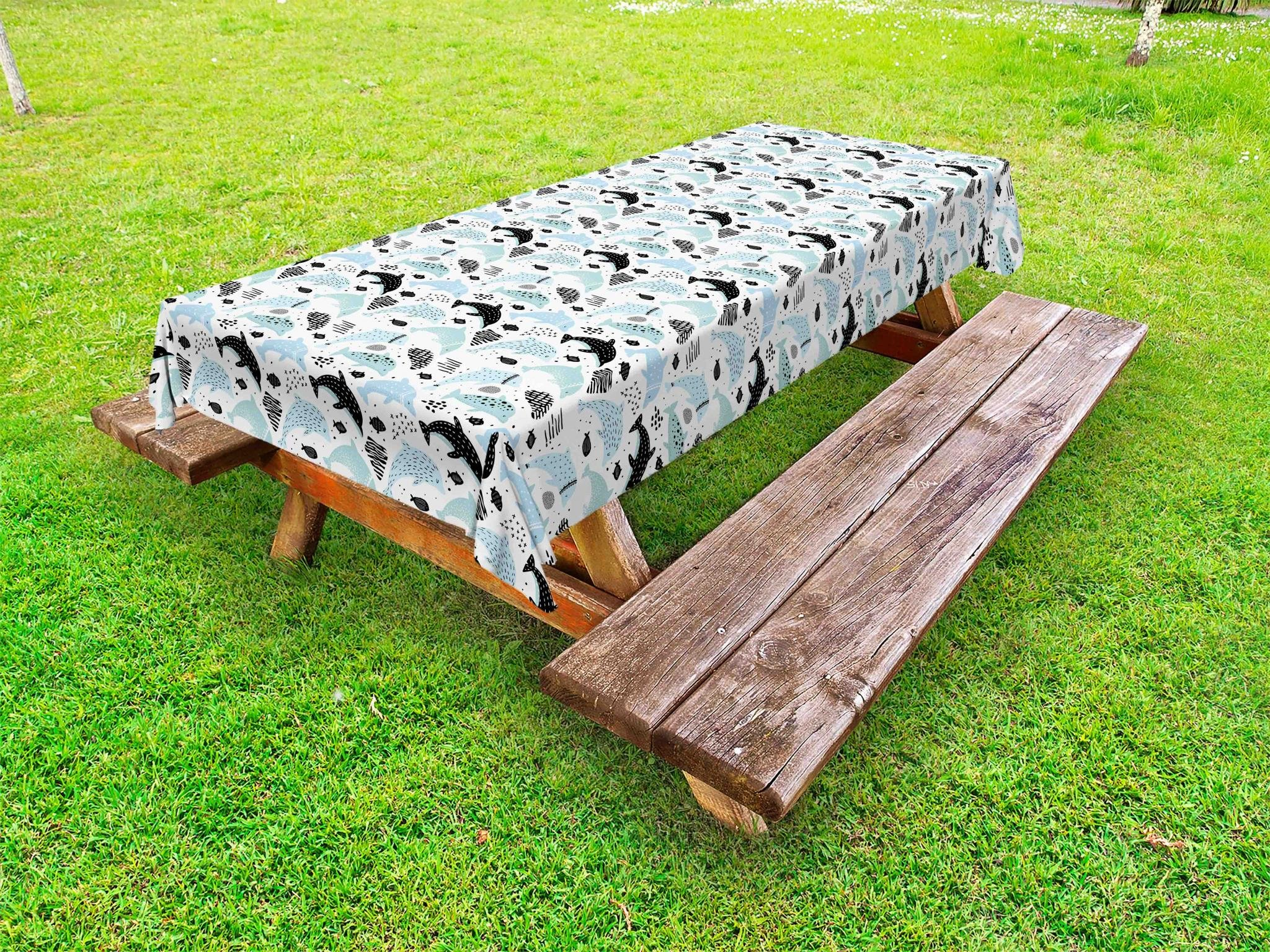 Lunarable Nautical Outdoor Tablecloth, Childish Style Swimming Dolphin and School of Fish Underwater Fauna, Decorative Washable Picnic Table Cloth, 58 X 120 inches, Pale Blue Black and White