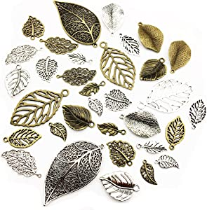 100g Craft Supplies Mixed Tree Leaves Pendants Beads Charms Pendants for Crafting, Jewelry Findings Making Accessory for DIY Necklace Bracelet (M091)