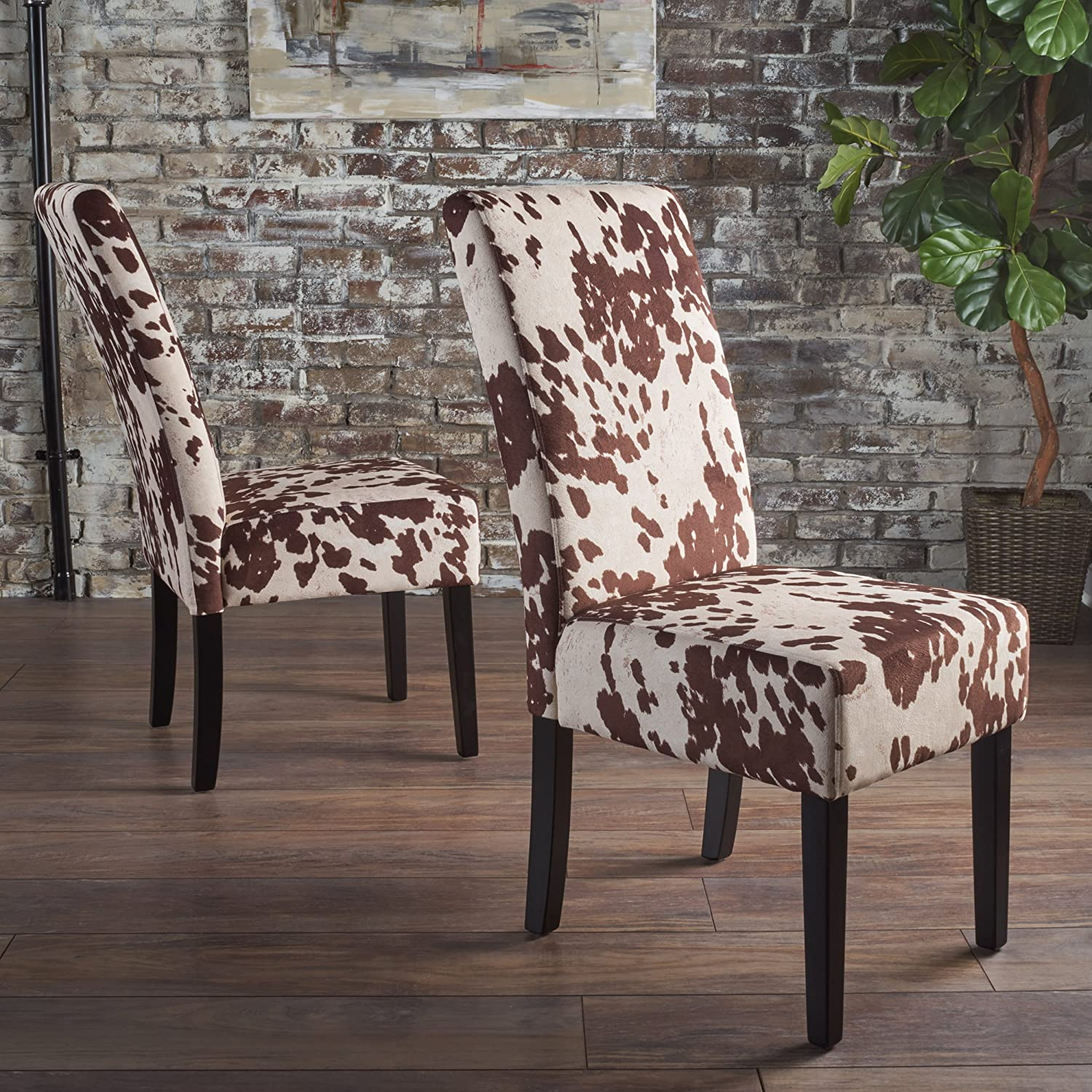 Christopher Knight Home 301838 Pertica Dining Chair Set, Milk Cow/Dark Brown