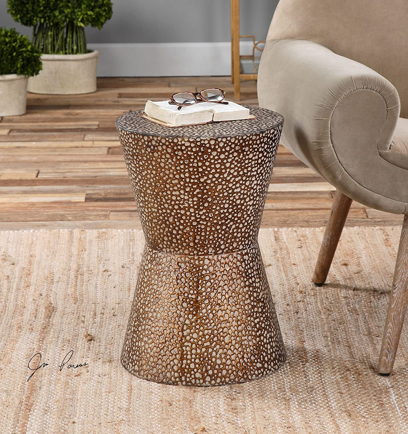 Amazon.com: Modern Copper Bronze Drum Table | Pierced Hammered Metal End  Round: Kitchen U0026 Dining
