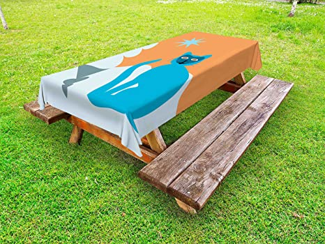 Amazoncom Ambesonne Psychedelic Outdoor Tablecloth Cat With - Spruce picnic table