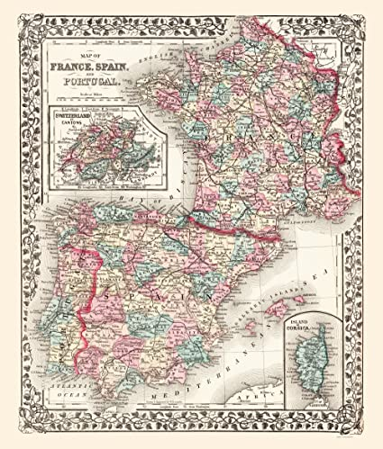 Full Map Of Spain.Amazon Com Maps Of The Past Old Europe Map France Spain And