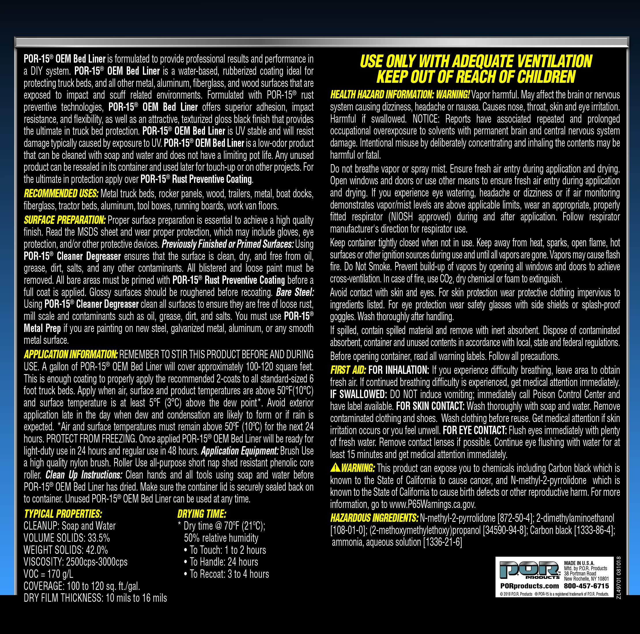 POR-15 49701 OEM Bed Liner - 1 gallon by POR-15 (Image #2)
