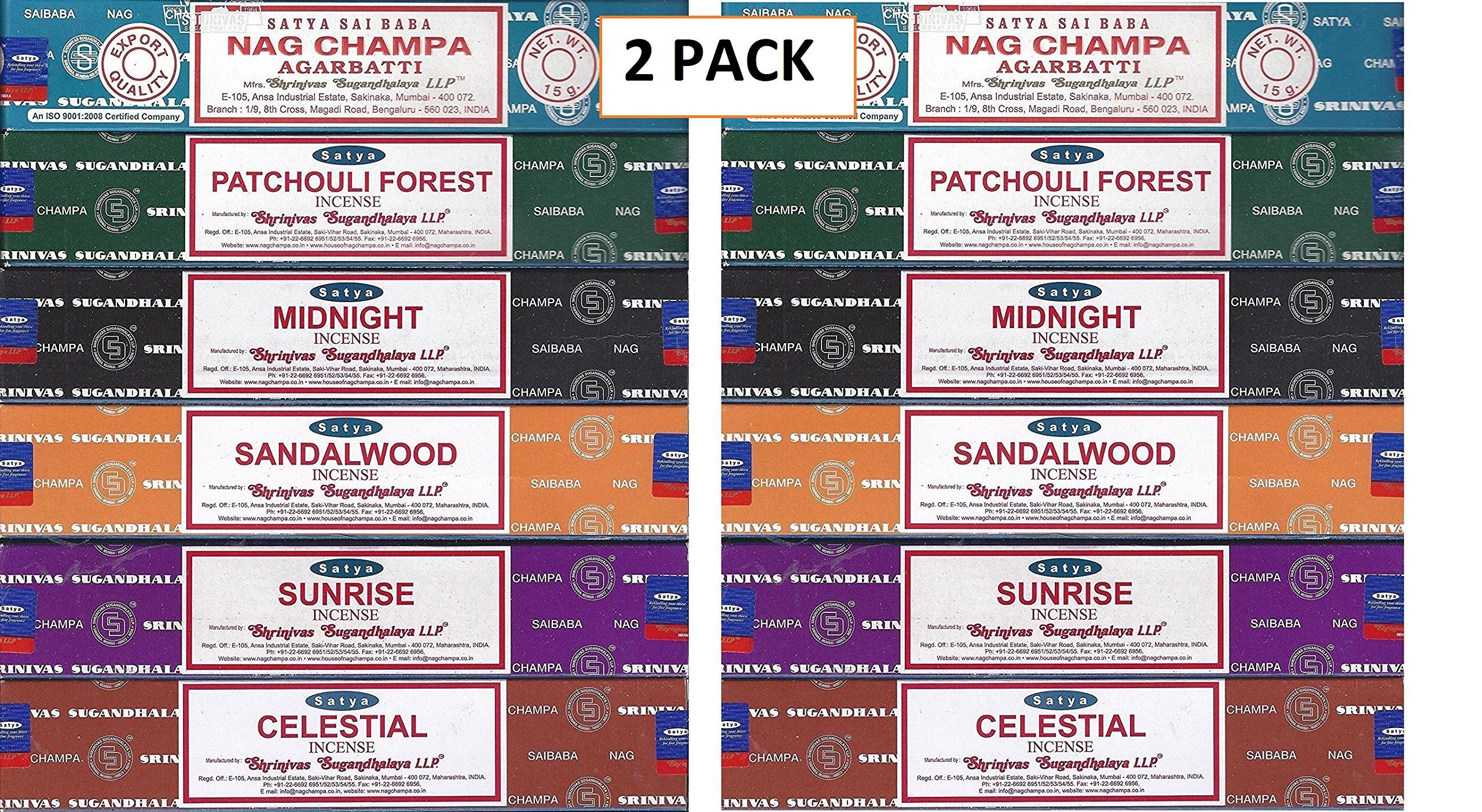 Satya - Set of 6 - Nag Champa, Sunrise, Sandalwood, Midnight, Patchouli, Celestial 15 grams (2 Pack)