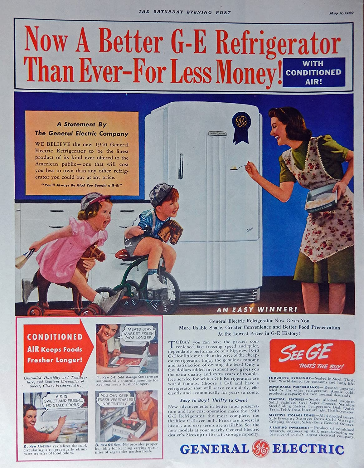 General Electric Refrigerator, 40's Print ad. Full Page Color Illustration (mother/kids playing) Original Vintage 1940 The Saturday Evening Post Magazine Print Art
