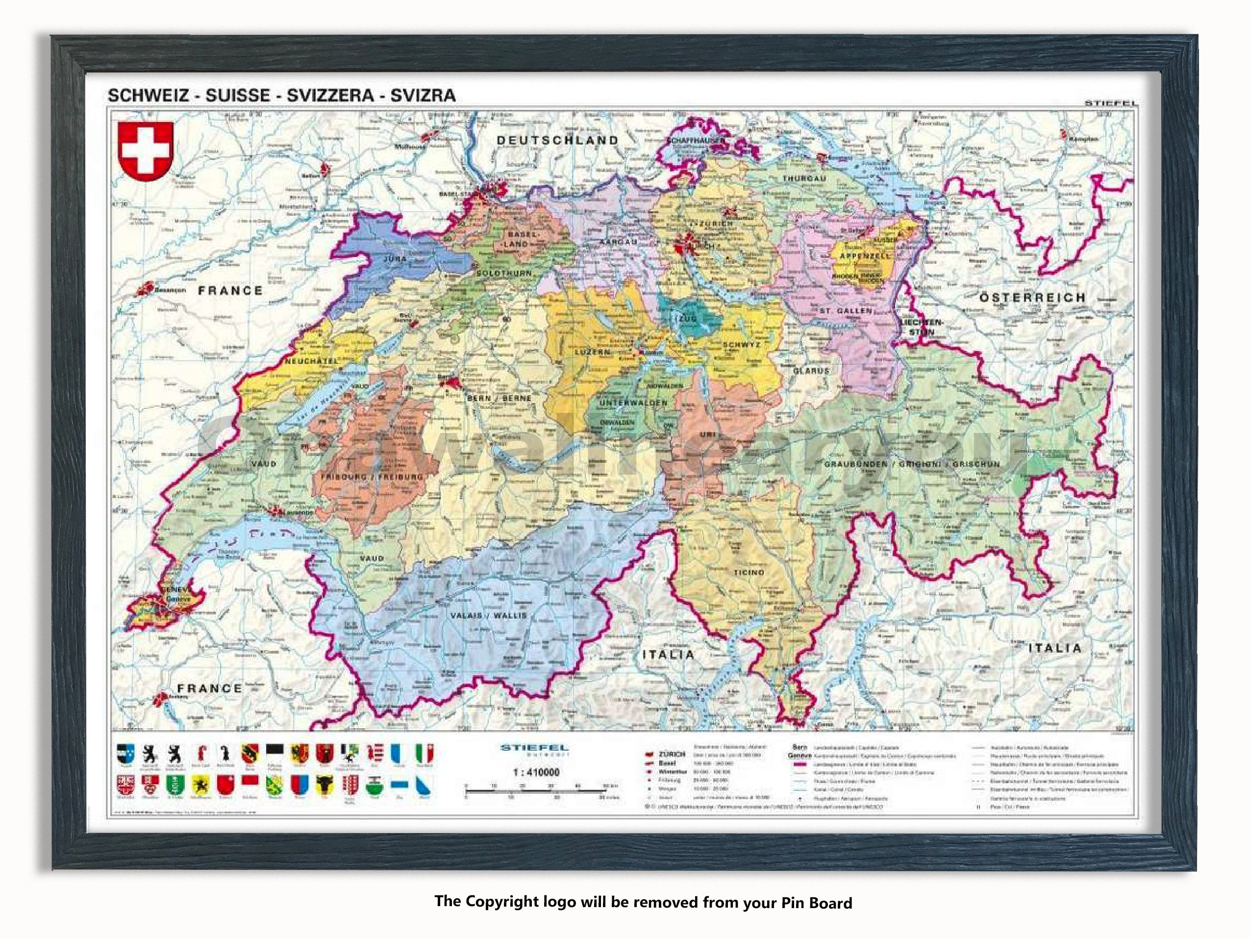 Laminated Posters Framed - Map Of Switzerland - Push Pin Memo Notice Board - Black Driftwood Effect - Matt Finish - Measures 96.5 x 66 cms (38 x 26 Inches - Approx)