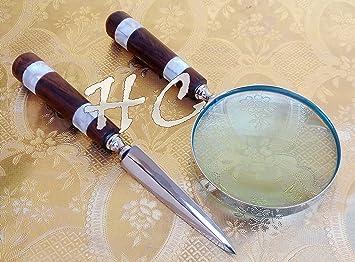 Antique Vintage Brass Desk Magnifying Glass /& Letter Opener Set Wth Wood Handles