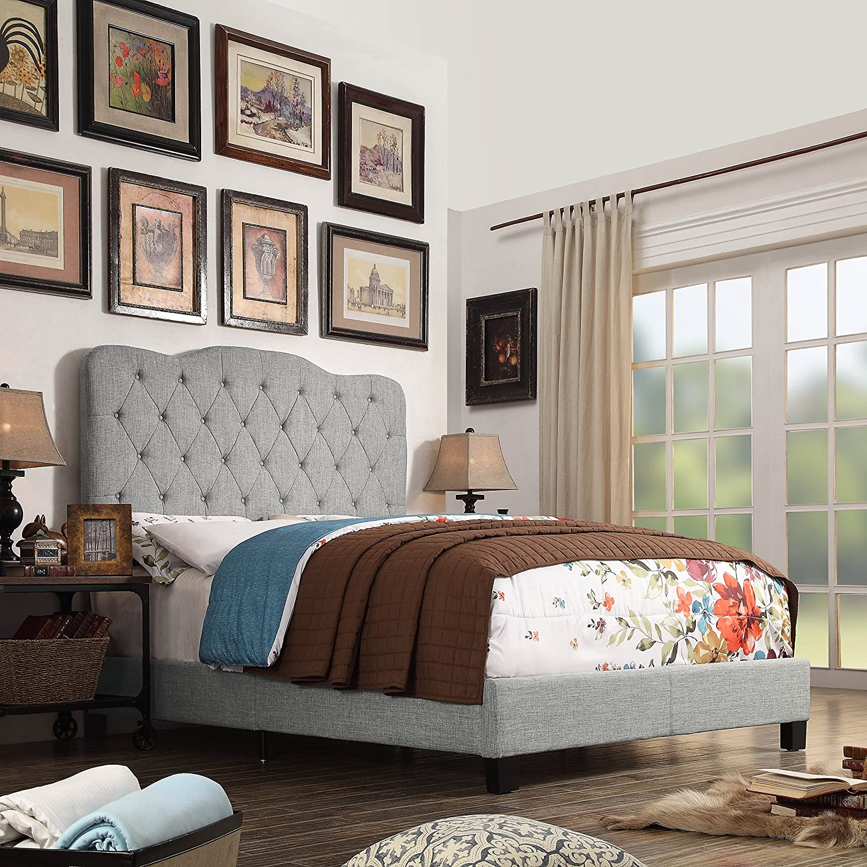 Millbury Home Elian Linen Upholstery Platform Bed, Twin, Grey