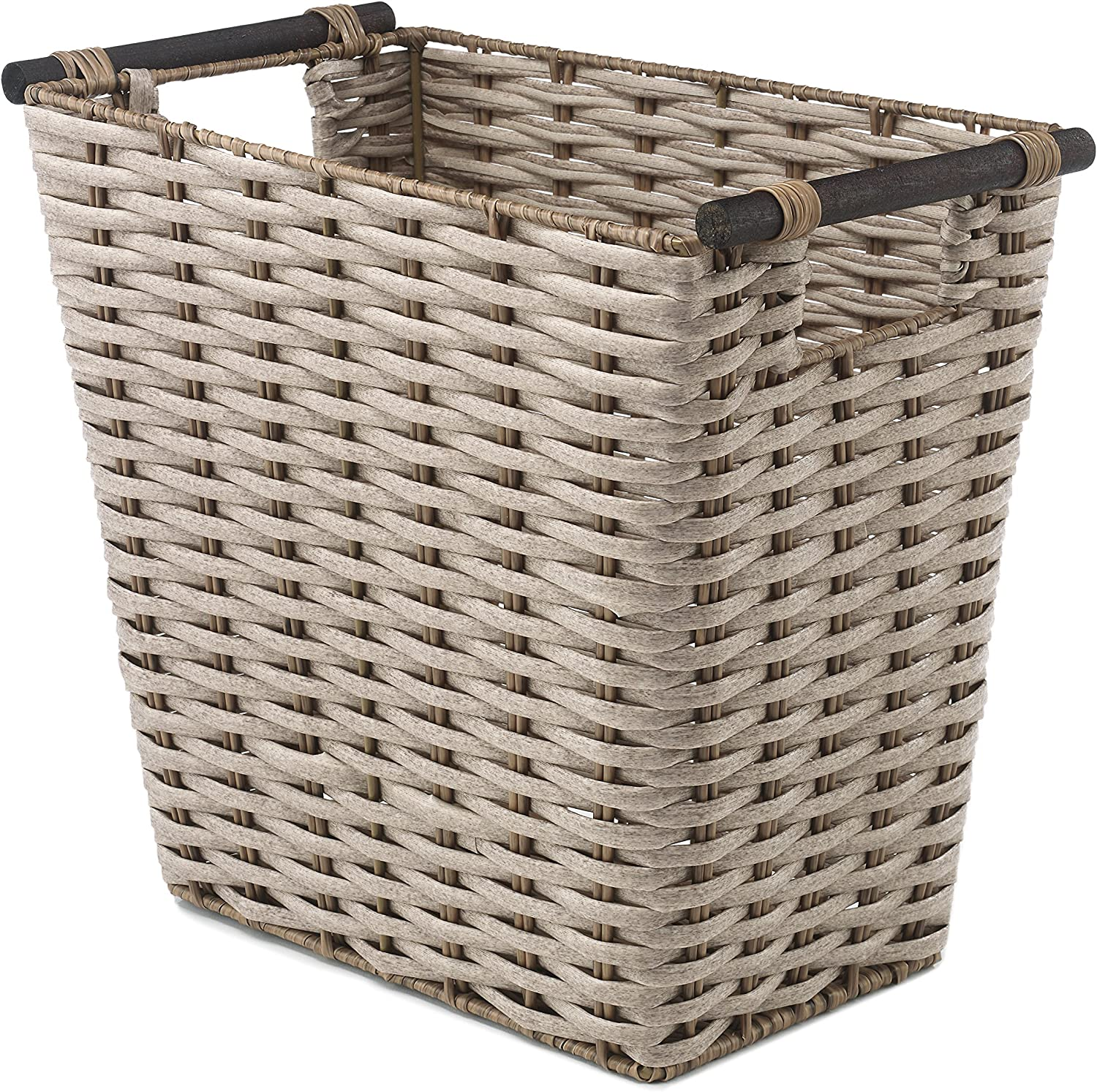 Whitmor Waste Basket with Wood Handles