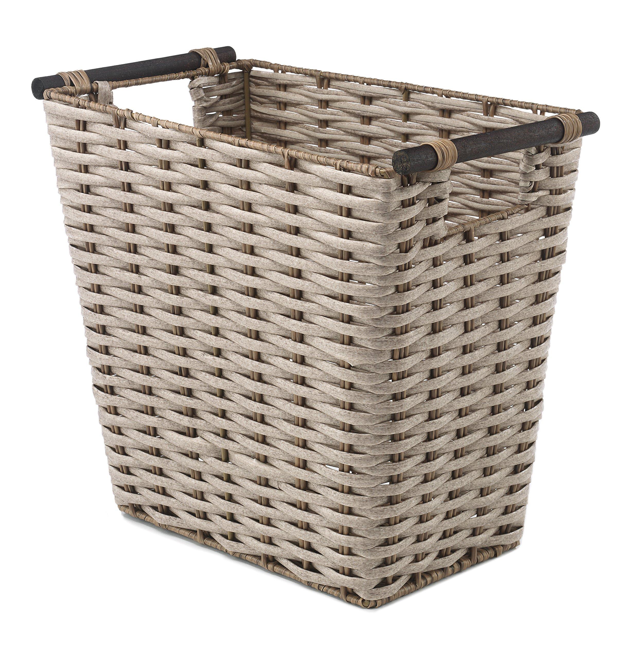 Whitmor PE Rush Waste Basket with Wood Handles