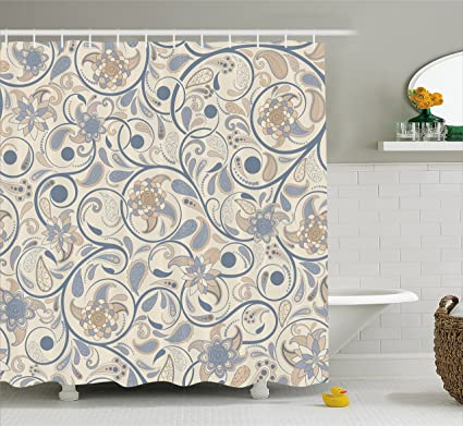 Ambesonne Vintage Shower Curtain Oriental Scroll With Swirling Leaves Eastern Design Inspirations Cloth