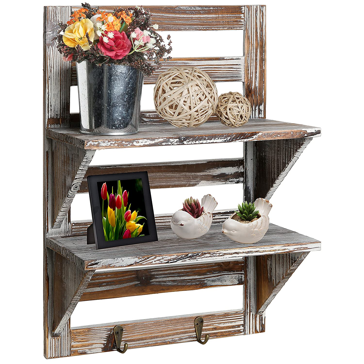 Amazon.com: MyGift Rustic Wood Wall Mounted Organizer Shelves W/ 2 Hooks,  2 Tier Storage Rack, Brown: Home U0026 Kitchen