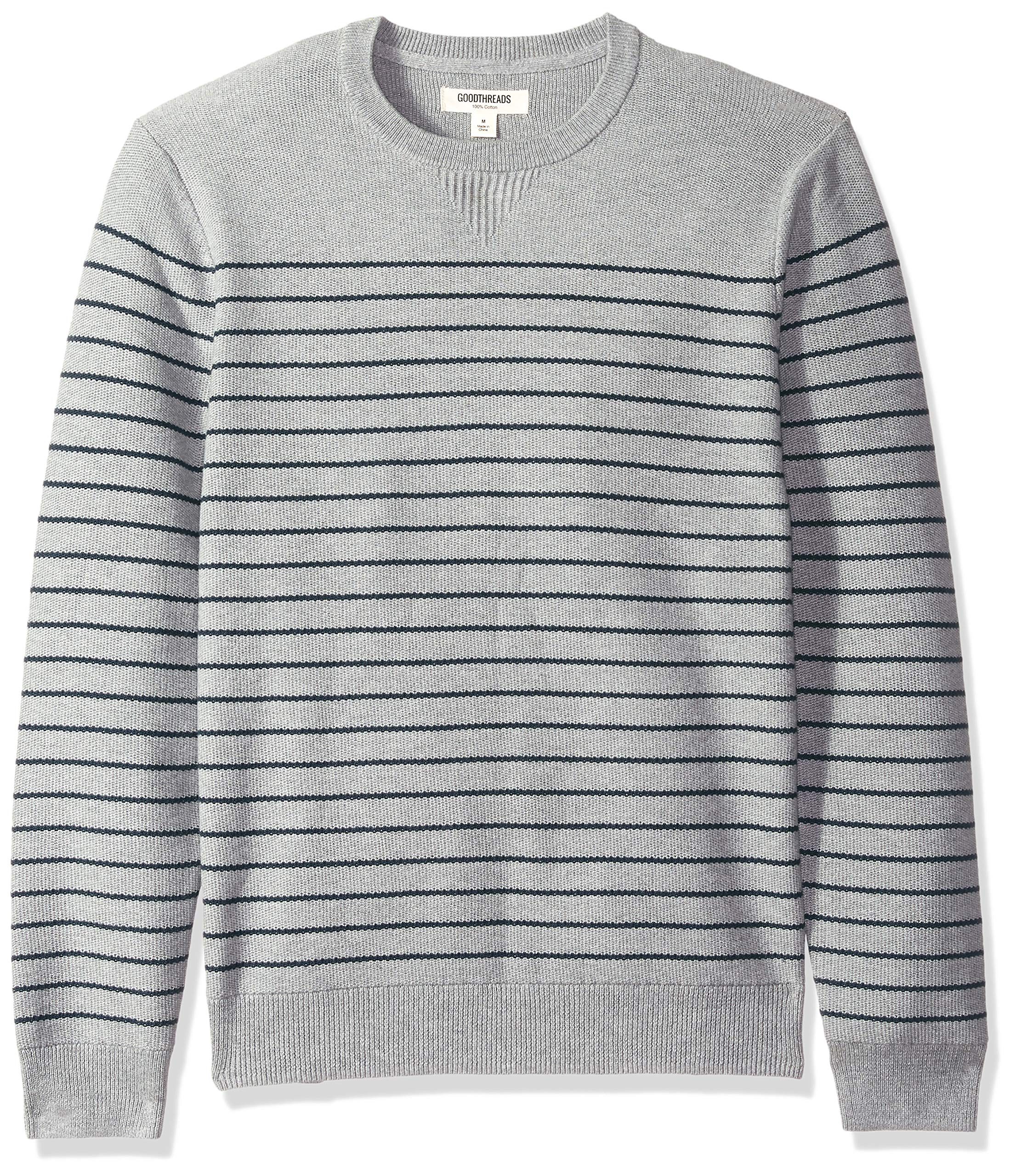 Goodthreads Men's Soft Cotton Striped Crewneck Sweater, Heather Grey/Navy, XXX-Large Tall by Goodthreads