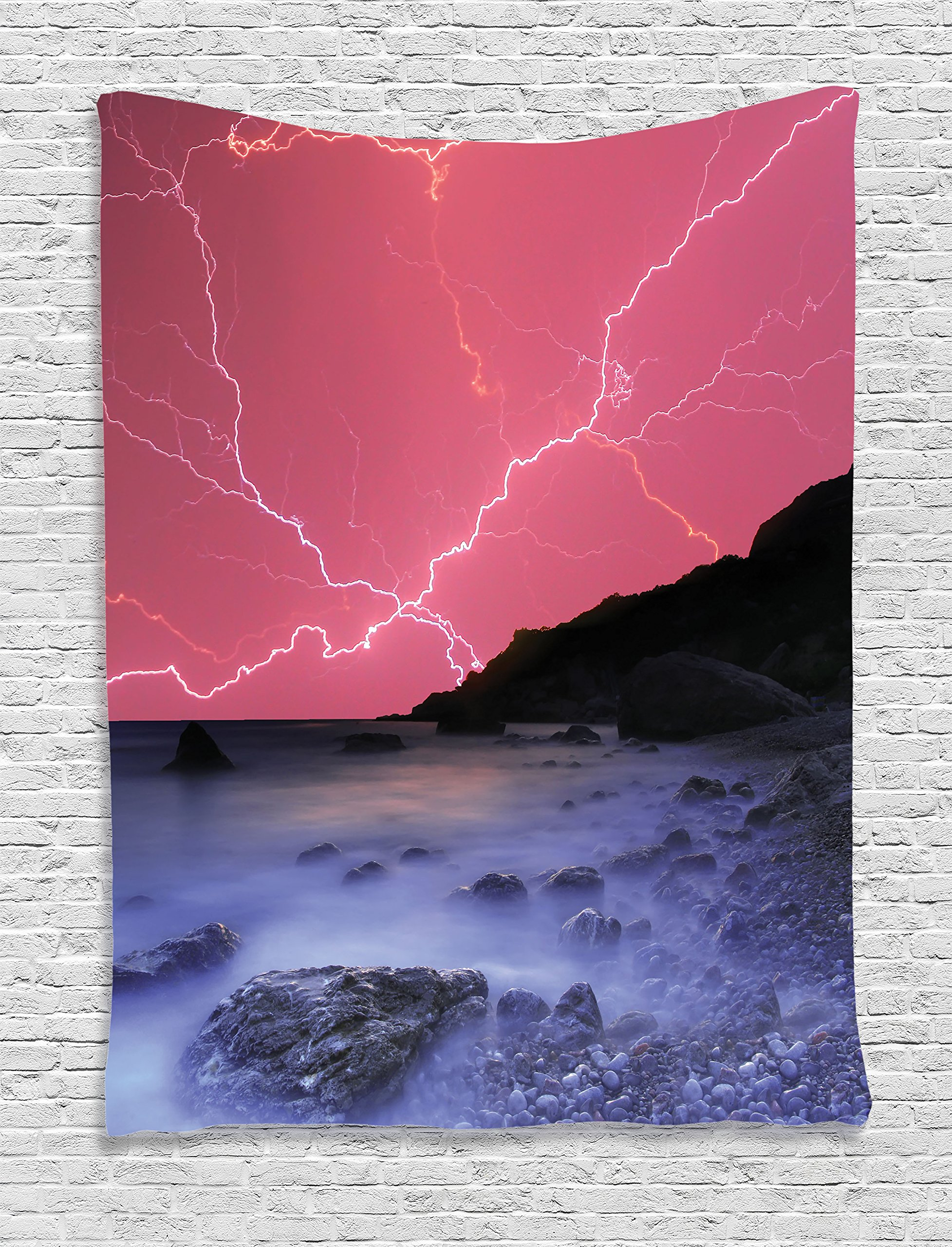 Ambesonne Lake House Decor Tapestry, Thunderstorm Bolts with Vivid Colorful Sky Like Solar Lights Phenomenal Nature Picture, Bedroom Living Room Dorm Decor, 40 W x 60 L inches, Pink Grey