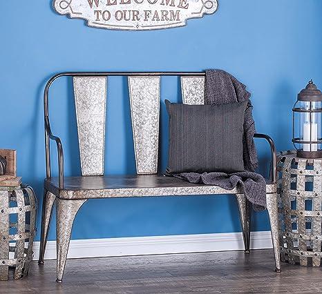 Astounding Deco 79 70568 Farmhouse Style Gray Metal Outdoor Bench 40 X 45 Inch Inzonedesignstudio Interior Chair Design Inzonedesignstudiocom