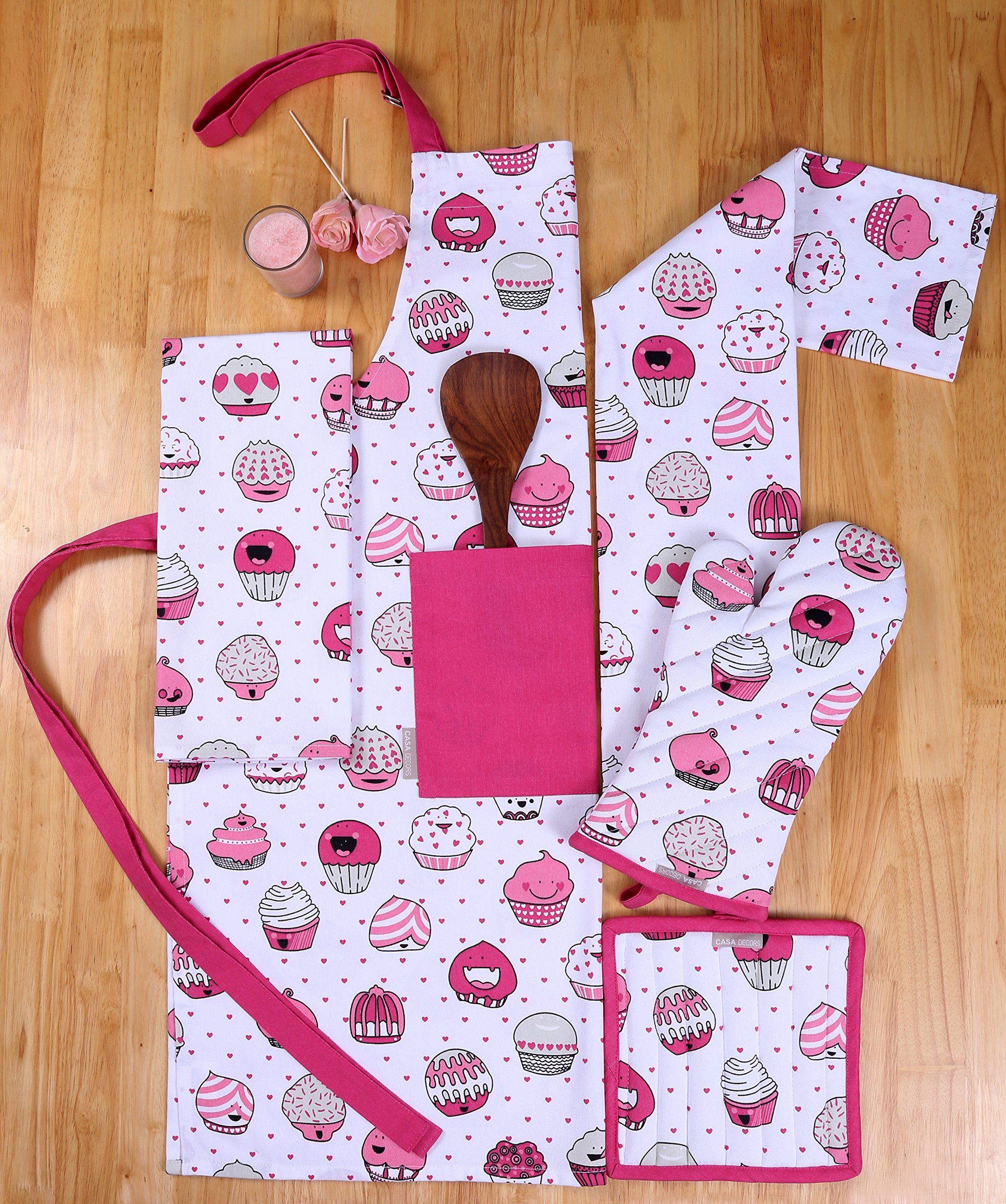 CASA DECORS Set of Apron,Oven Mitt,Pot Holder, Pair of Kitchen Towels in a Valentine Cup Cakes Design, Made of 100% Cotton, Eco-Friendly & Safe, Value Pack and Ideal Gift Set, Kitchen Linen Set By