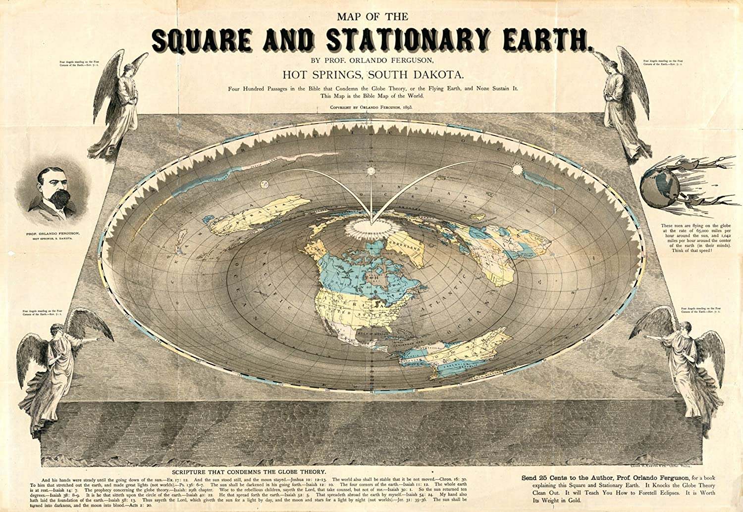 Amazon.com: Map of the Square and Stationary Earth. Four Hundred
